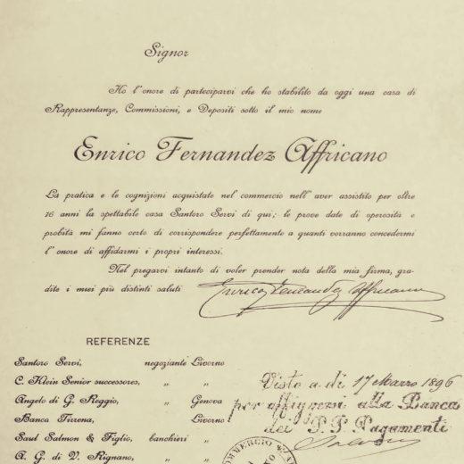 atto costitutivo ditta enrico fernandez affricano 1 marzo 1896