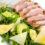 Tagliata di vitello con insalata di rucola, grana e avocado